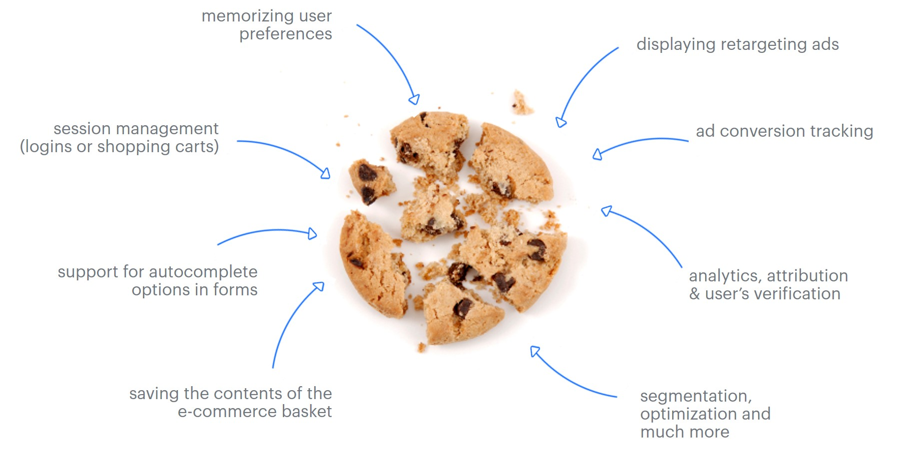 Broken cookie with arrows with functions listed
