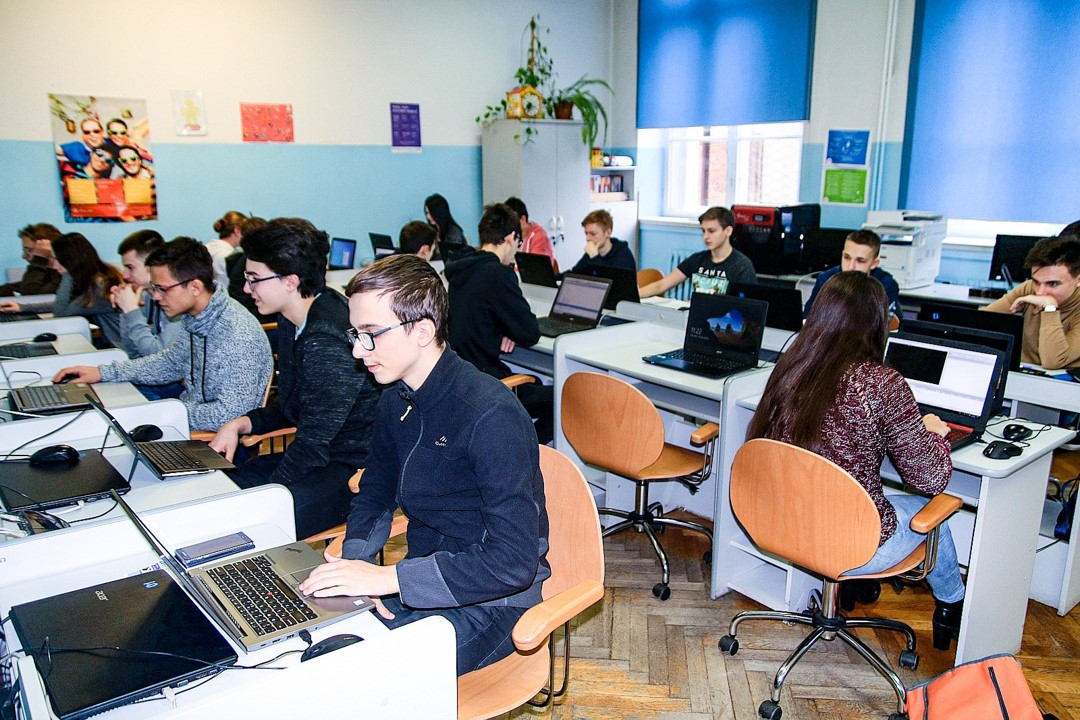Students during lesson conducted in Tadeusz Kościuszko High School in Legnica
