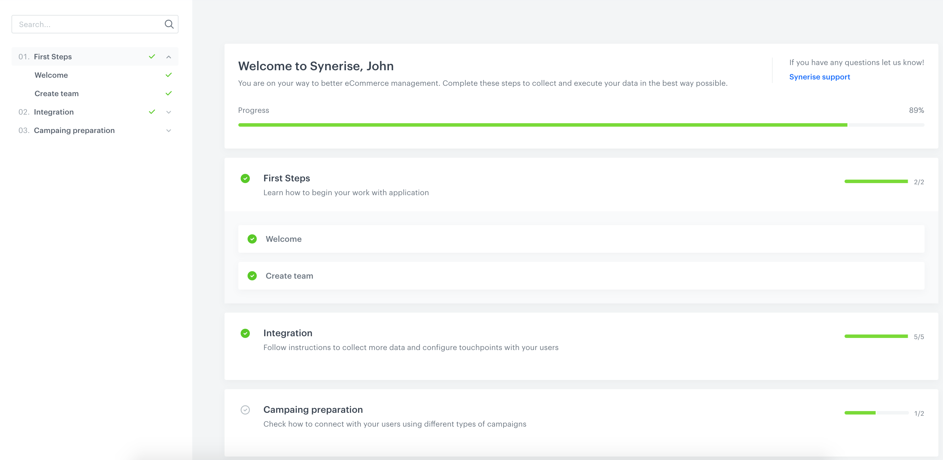 Screen presents a new section in Synerise with onboarding materials gathered in a few lessons.