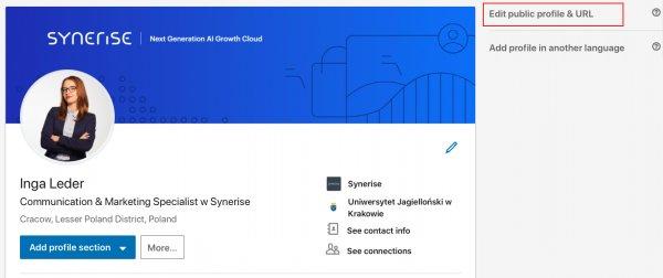 Linkedin Profile - of example synerise employee