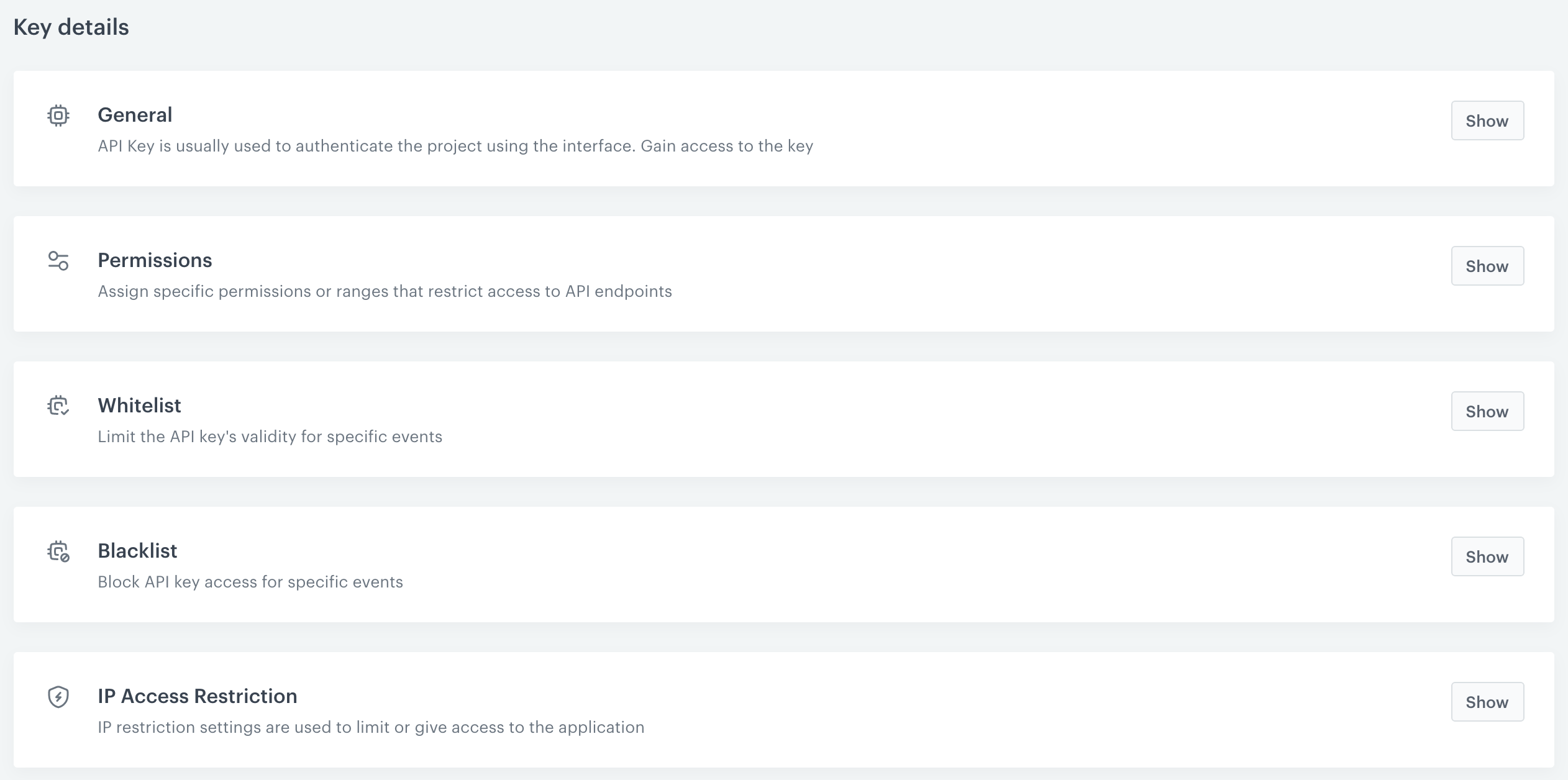 Screen presents the refreshed look of the API-Key generation page.