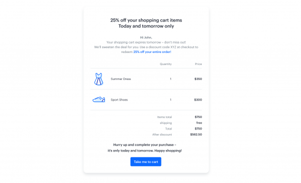 First email - 3days after cart abandonment