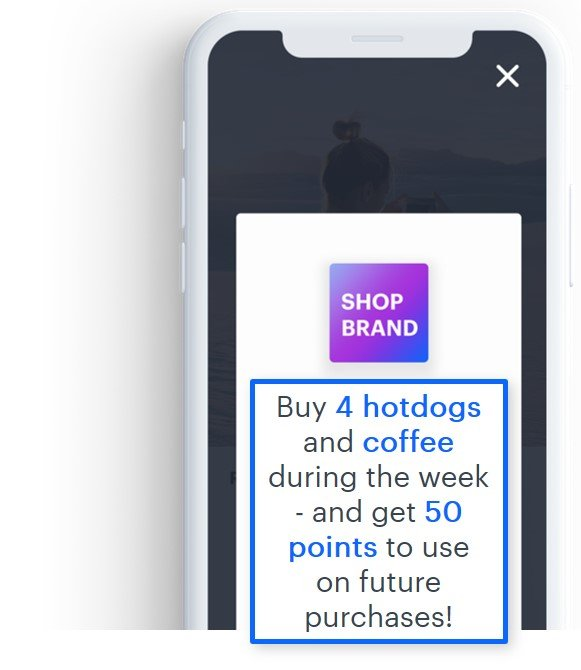 Mobile app notification - if you buy some products you can gain extra points