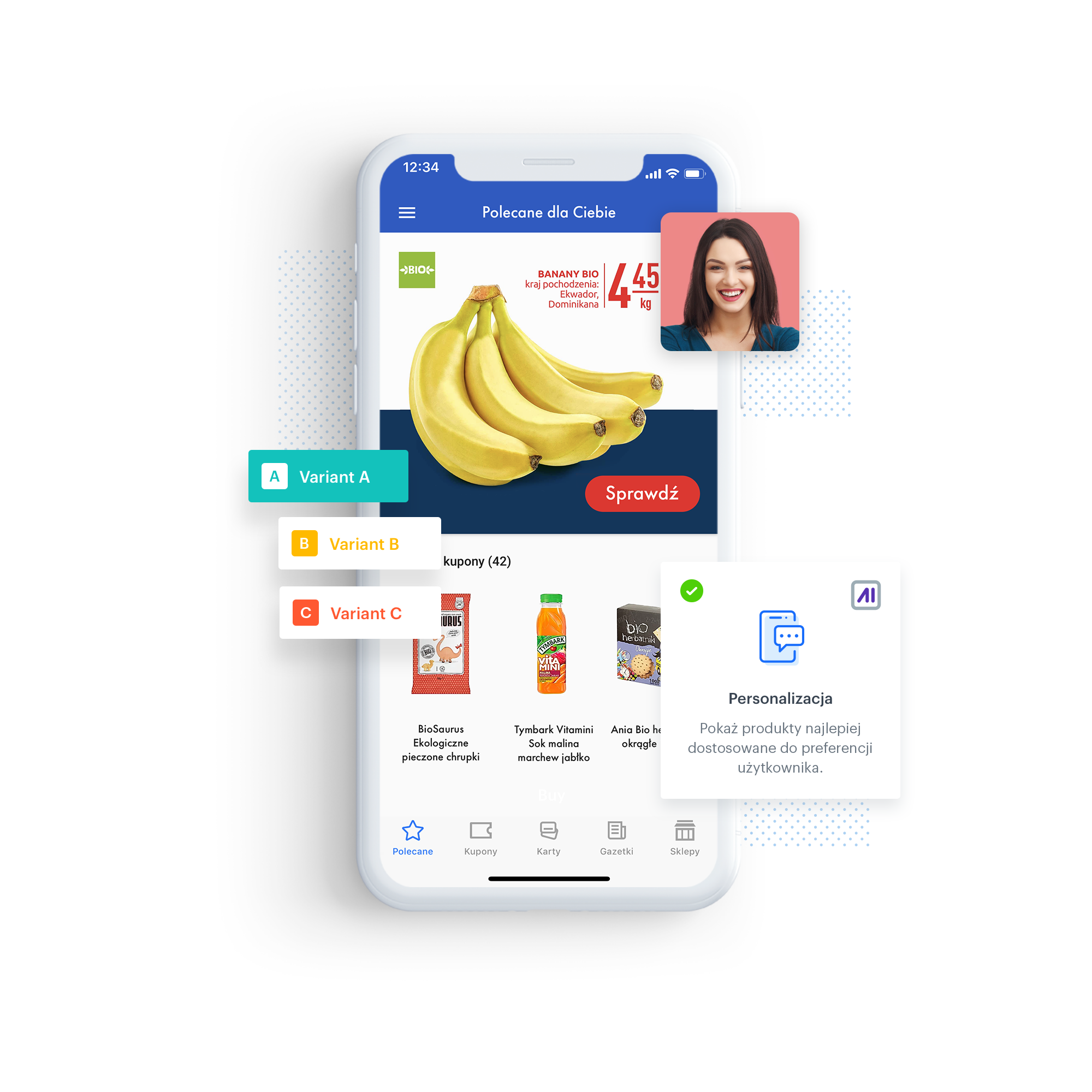 Carrefour mobile app with personalized products