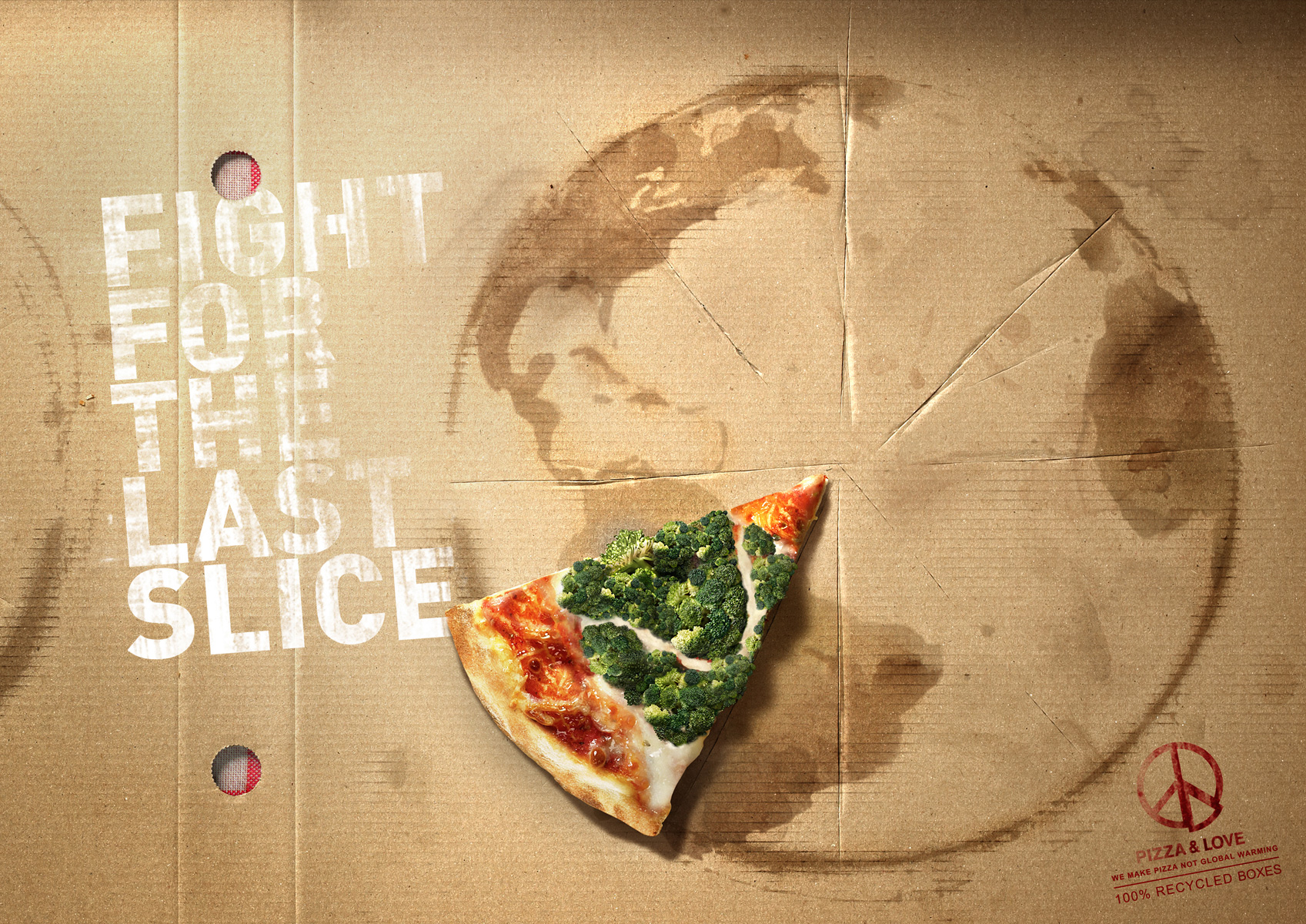 Poster presenting Pizza&Love campaign: their fight for the Arctc and for Amazonas