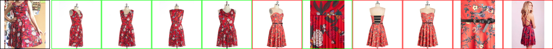 Similar products - AI model - examples (red dresses)
