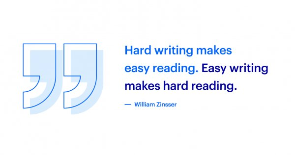 Quote about hard writing that makes easy reading
