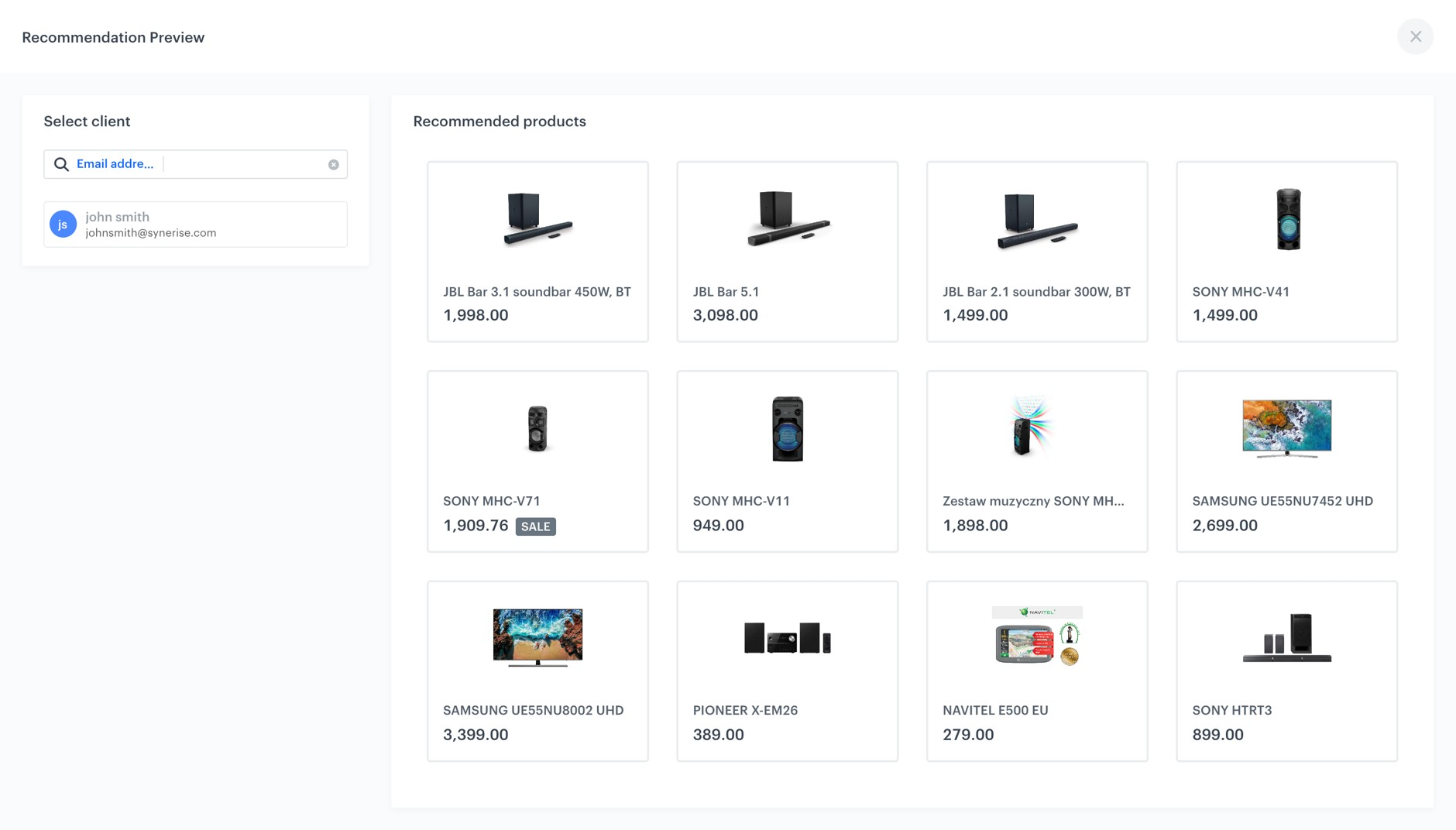 Personalized products recommendations presented in Synerise App