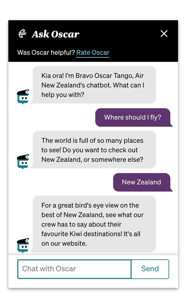 Oscar, Air New Zealand's chatbot - example conversation