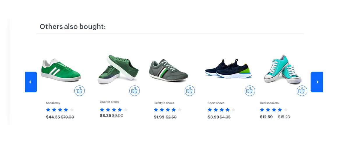 Social Proof banner presenting shoes bought by others
