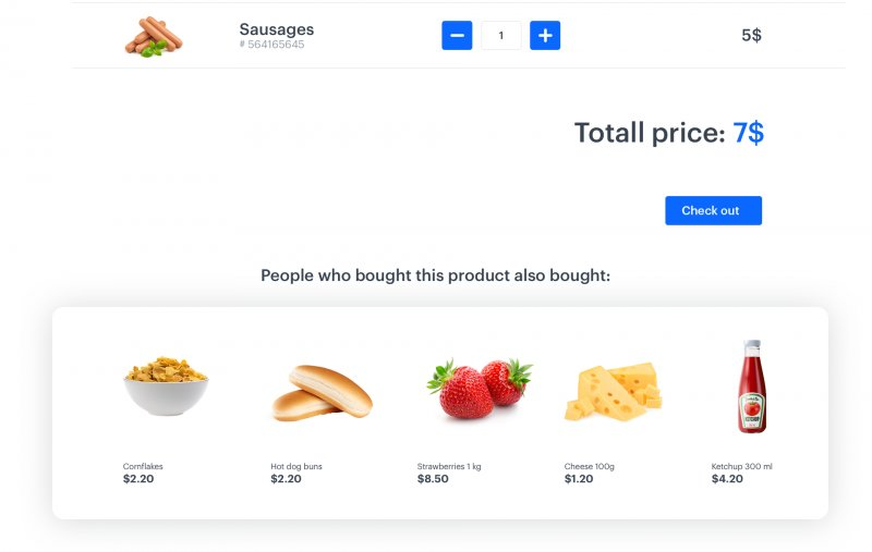 Example of social proof banner presenting 5 products frequently bought with the main selected product
