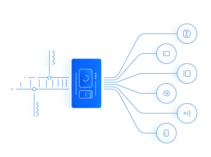 Blue graphic on a white background depicting a shopping path with the use of omnichannel marketing tools.
