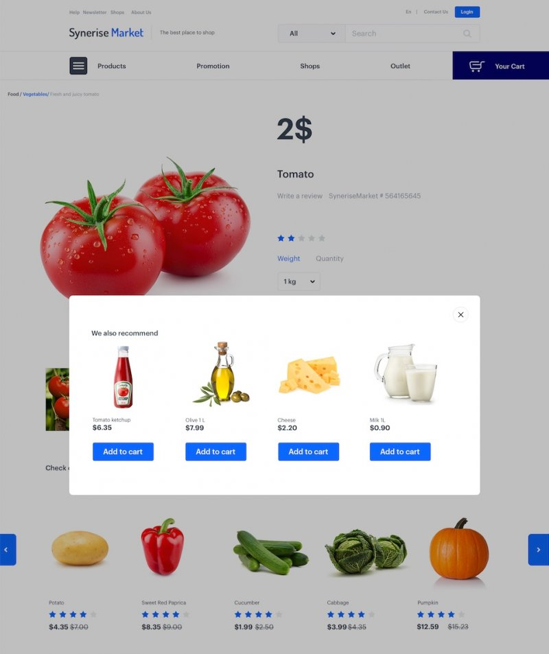 Banner with 4 products recommendation displays on the online grocery store website