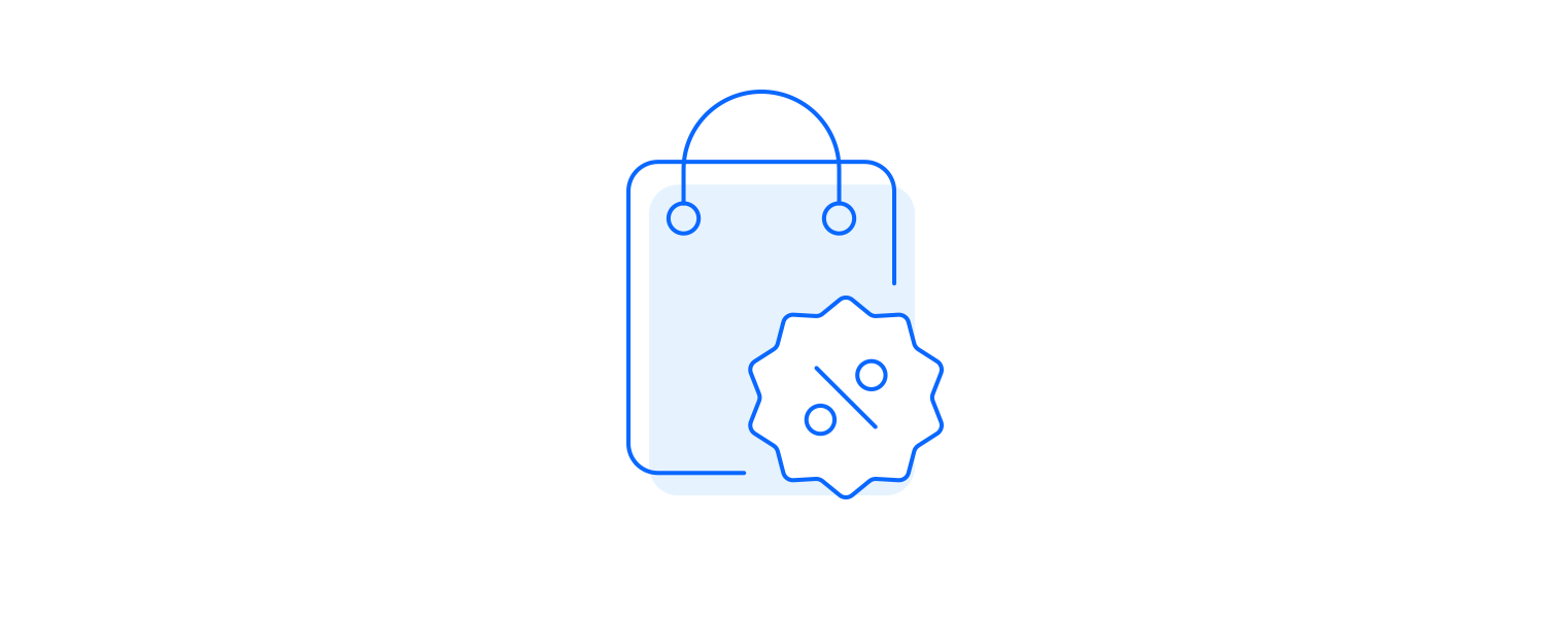Financial motivation icon illustrated as bag with discount icon