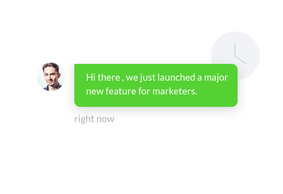 An icon of a male customer support officer and chat box with information about a new feature launched for marketers.