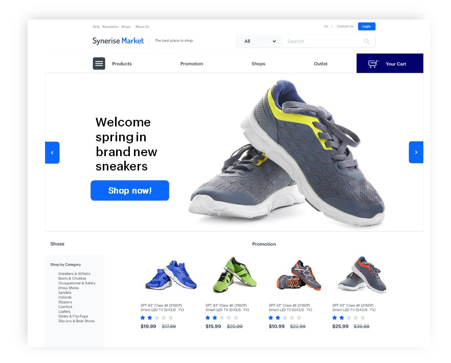 Dynamic banner presenting sneakers promotion