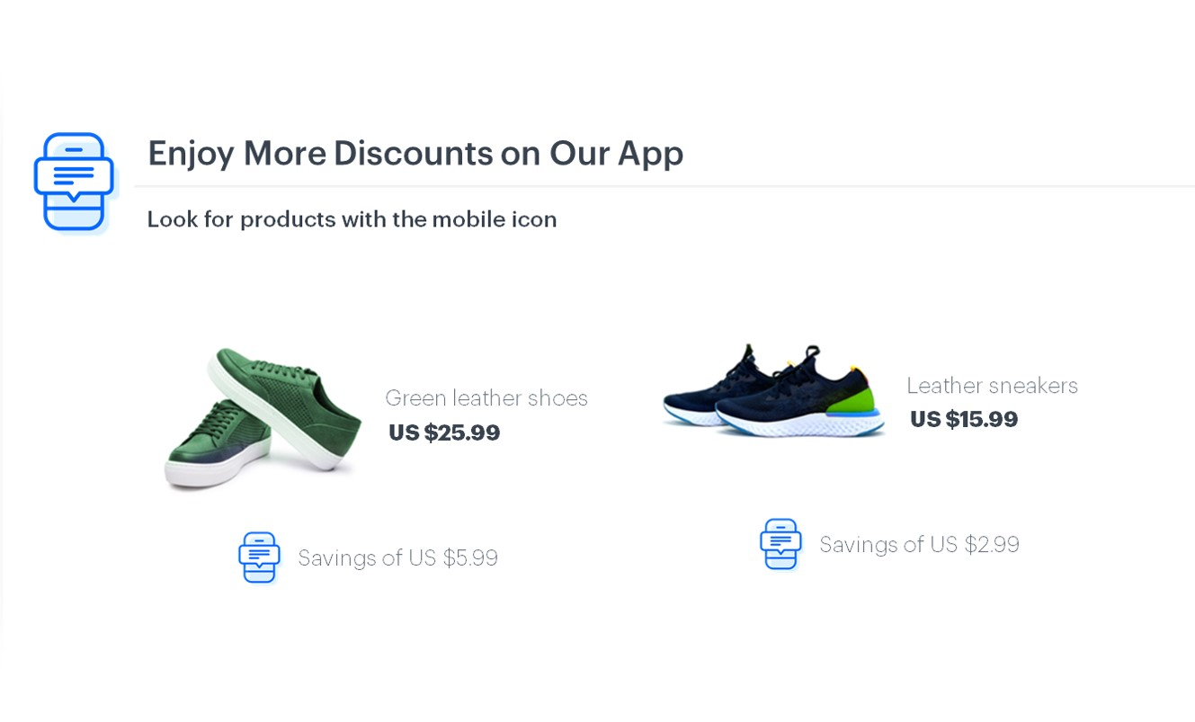 Frame with two pairs of shoes that can be purchased with an in-app discount