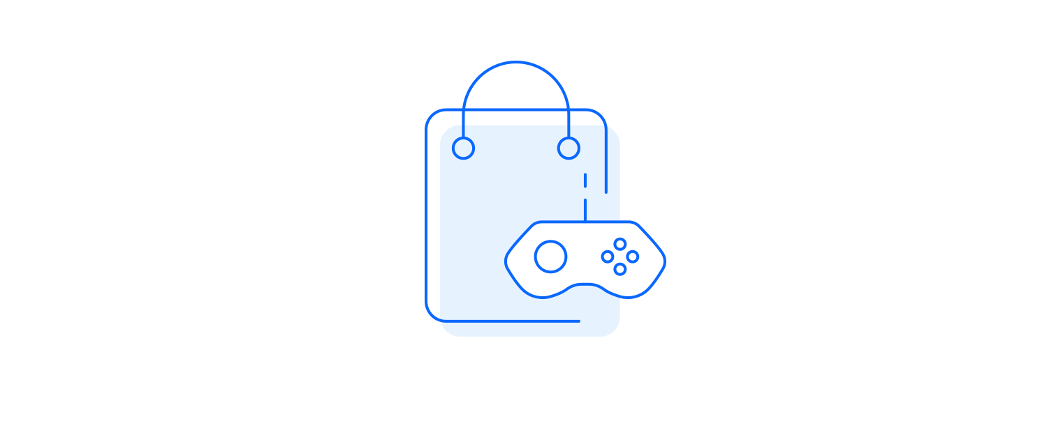 Hedonistic motivation icon illustrated as bag with playstation