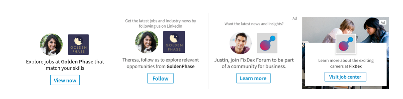Example of available formats for dynamic ads on linkedin