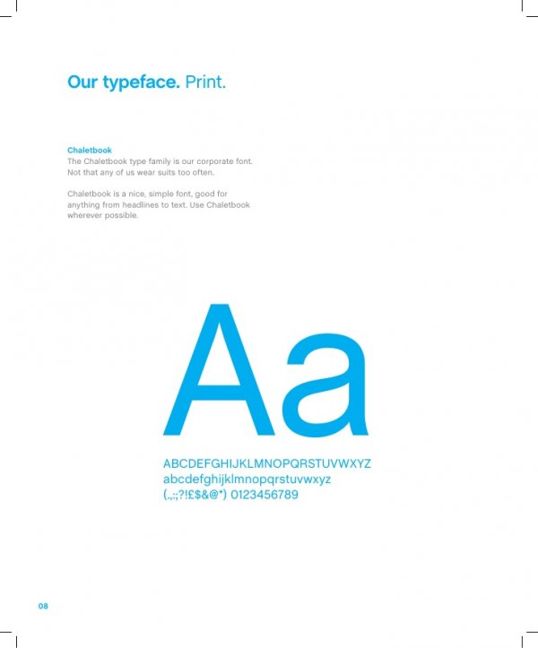 A typeface example used in a company's brand book to help users comply with visual identity.