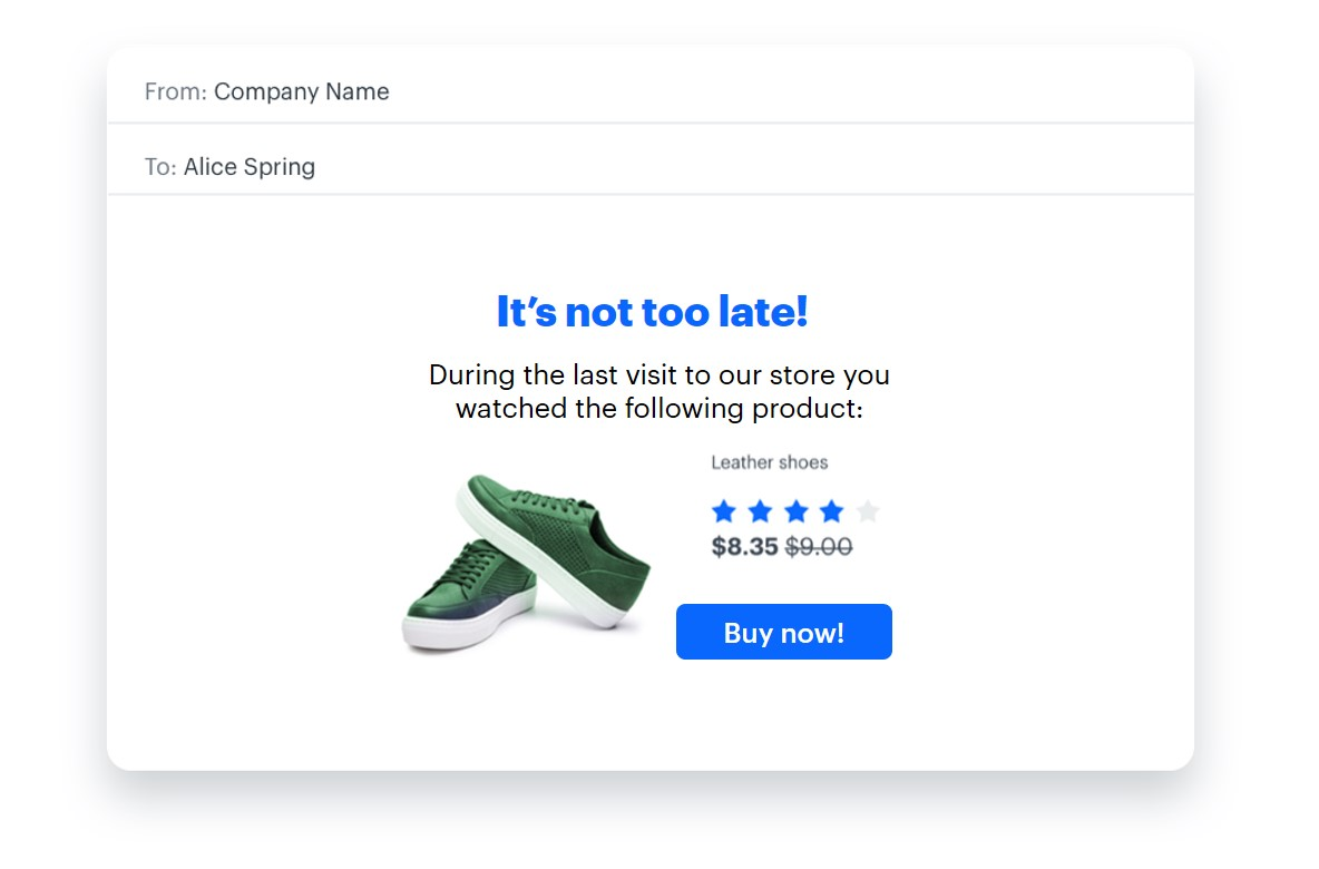 Personalized email message with the last viewed product