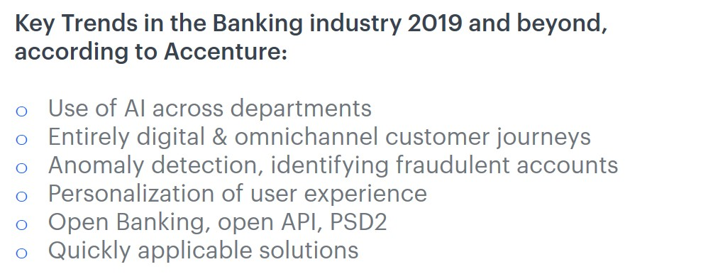 Key trends in the banking industry in 2019 and beyond, according to Accenture