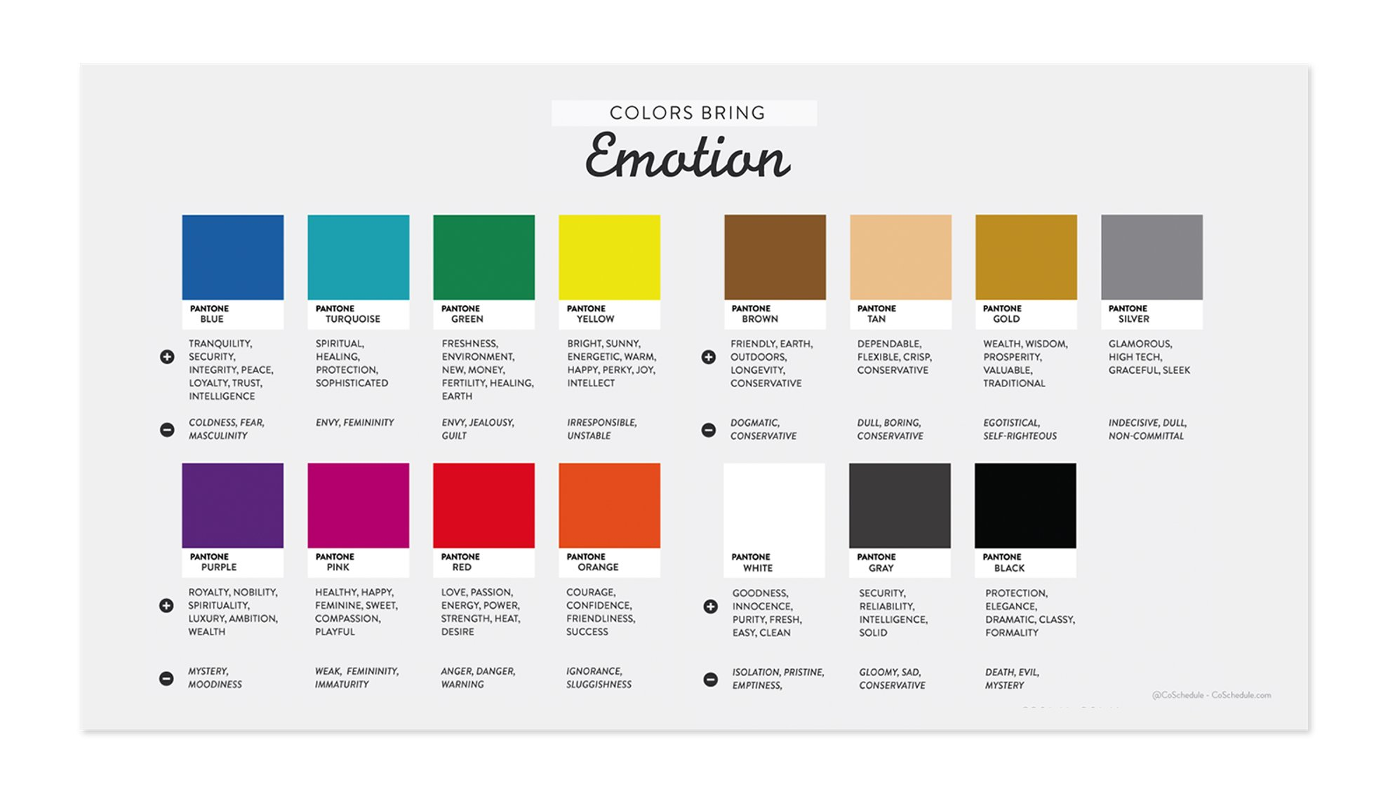 List of colors with connected emotions