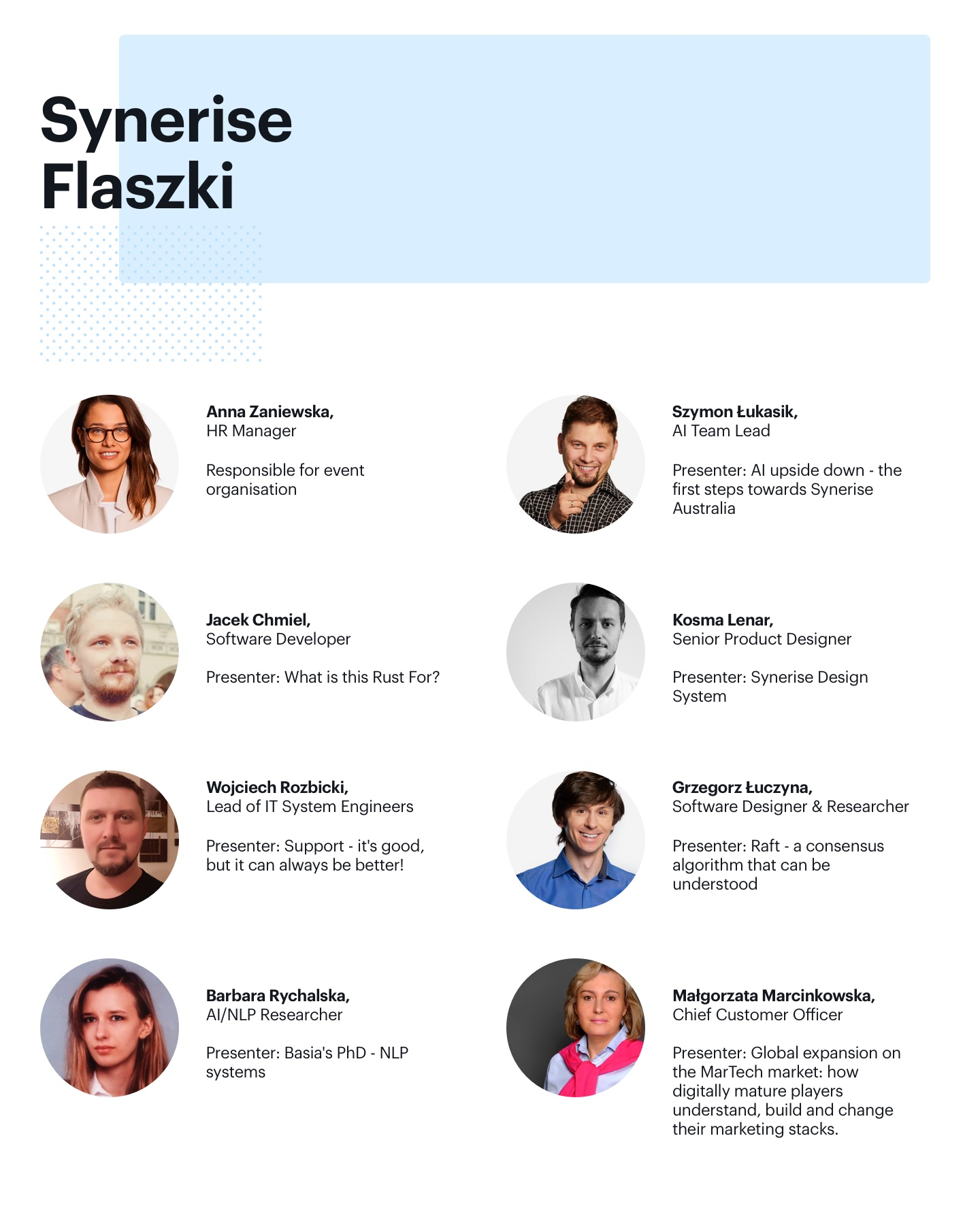 List of speakers who took partn in our previous synerise Flaszki event