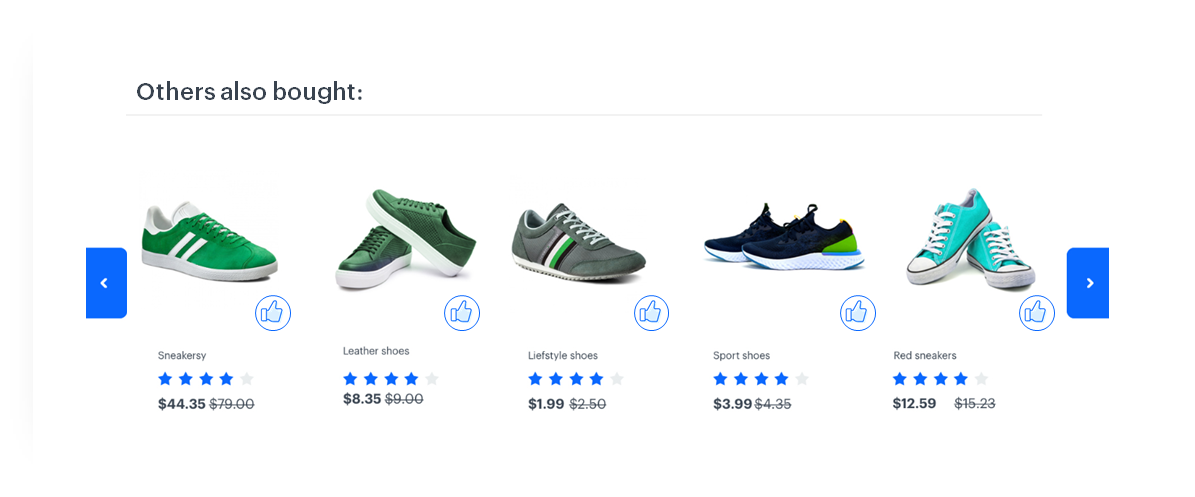 "Five pairs of men's shoes in different shades, with the words ""Others also bought"" at the top"