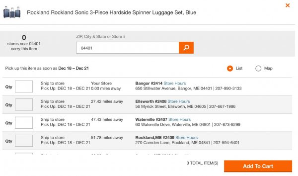 Searching for store using zip code search