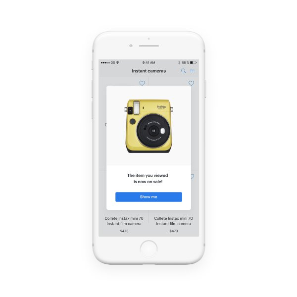 In-app message on the white mobile screen with the picture of the camera which is on sale