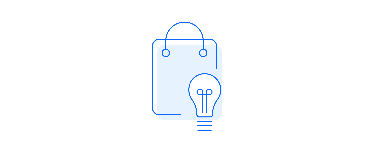 Motivation icon illustrated as businees case with light bulb