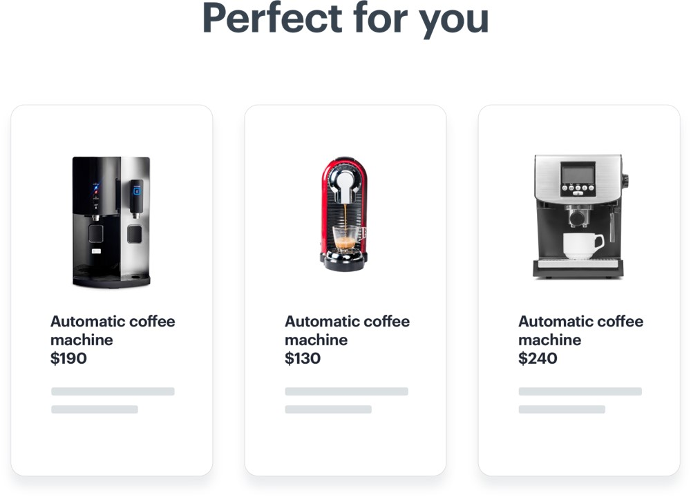 Personalized products - coffee machines - on the slider suggested as the product perfect for you