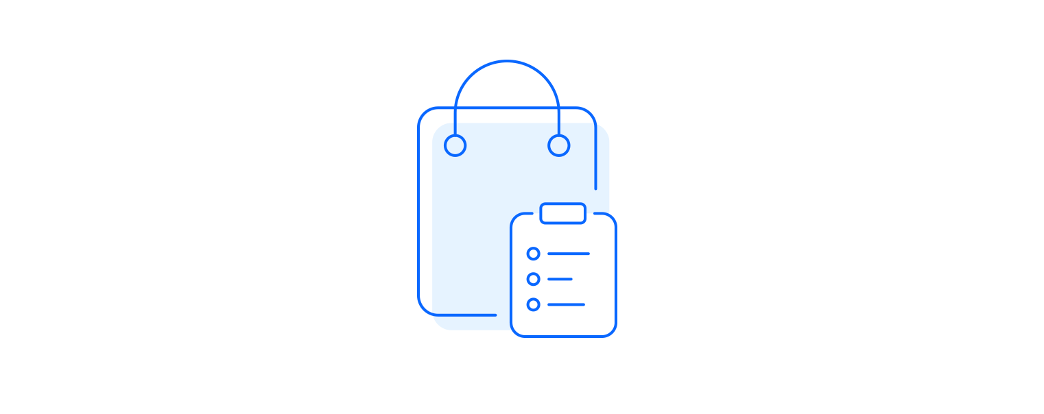 Organizational motivation icon illustrated as bag with to do list