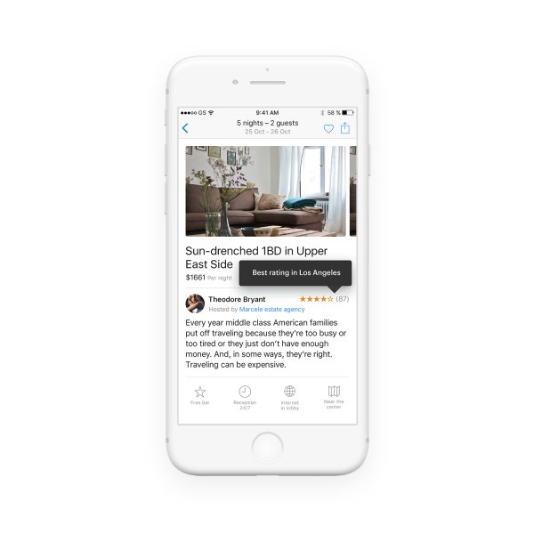 Tooltips informing about the rating of host renting an apartment displayed on mobile screen