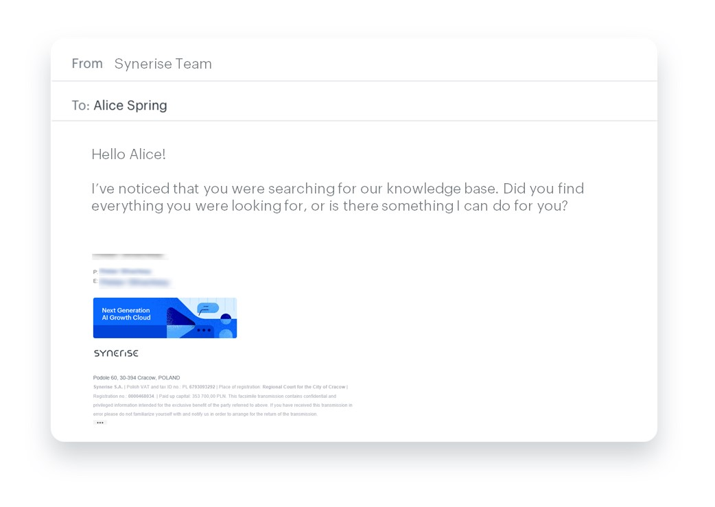 Email showing that you are at disposal and willing to answer all the questions