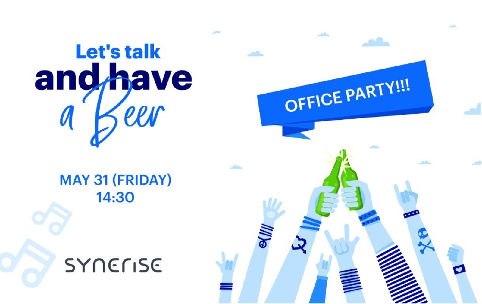 Official poster from synerise event Let's talk and have a beer