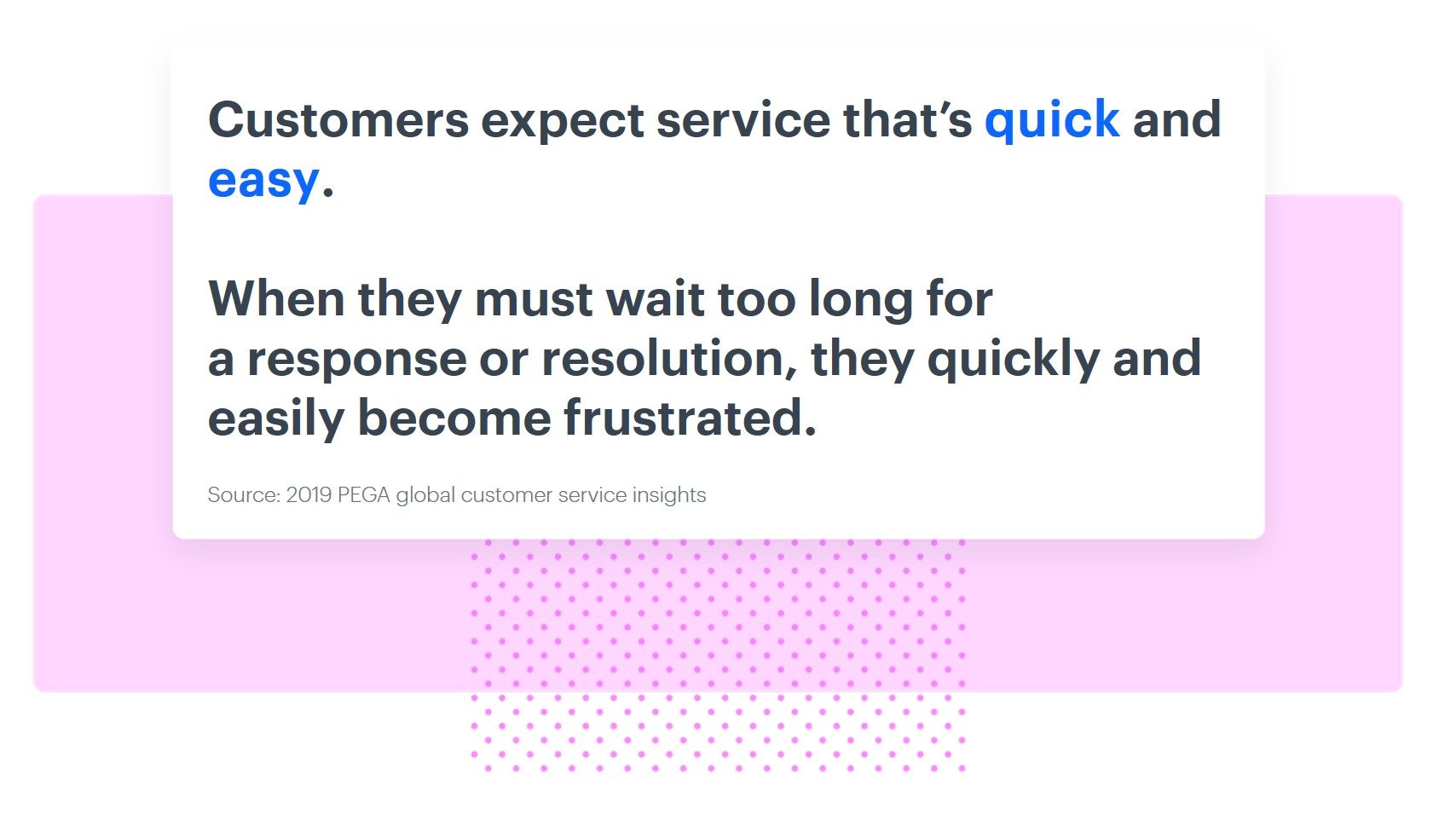 Customer expect the services to be quick and easy