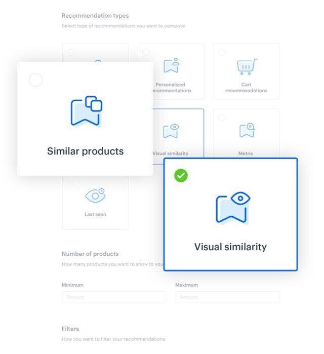 Similar product icon and viual similarity icon in synerise