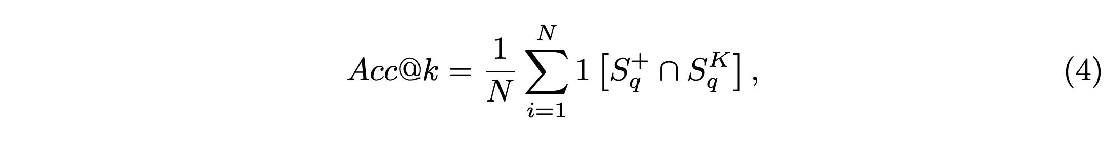 Accuracy@k (Acc@k) formula