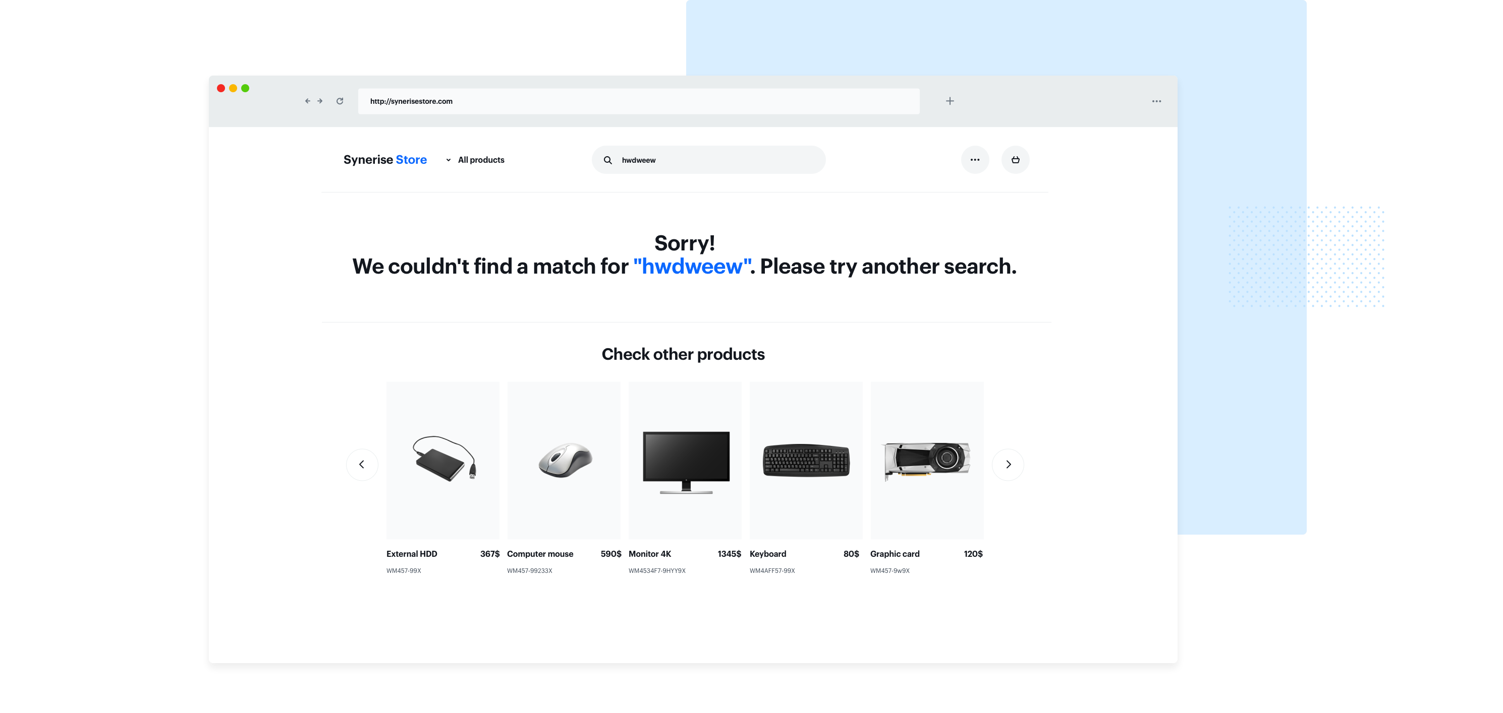 No products matching the selection, A.K.A. 0 search results example