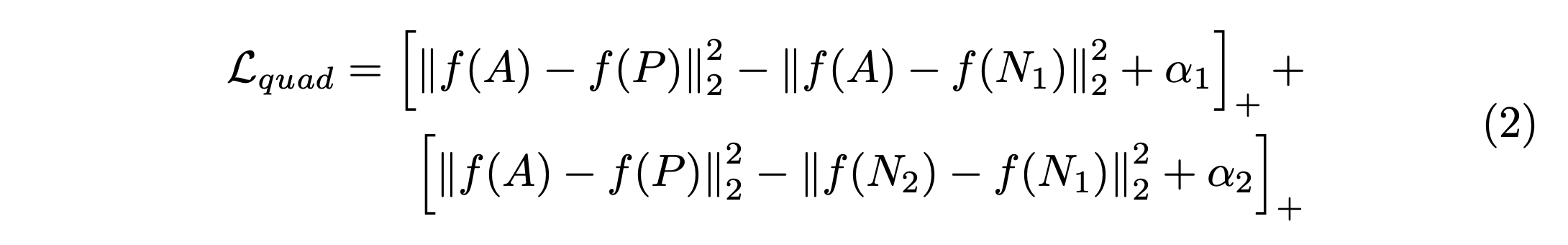 Quadruplet loss function