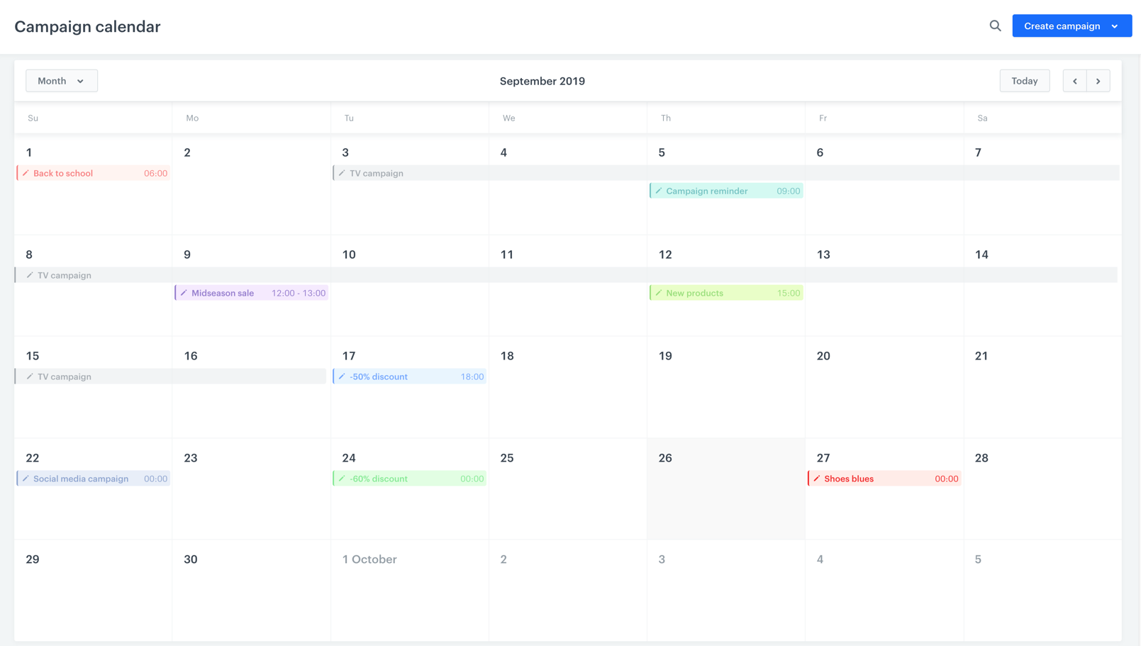 Universal marketing calendar for all campaigns you plan, even those unavailable in the app