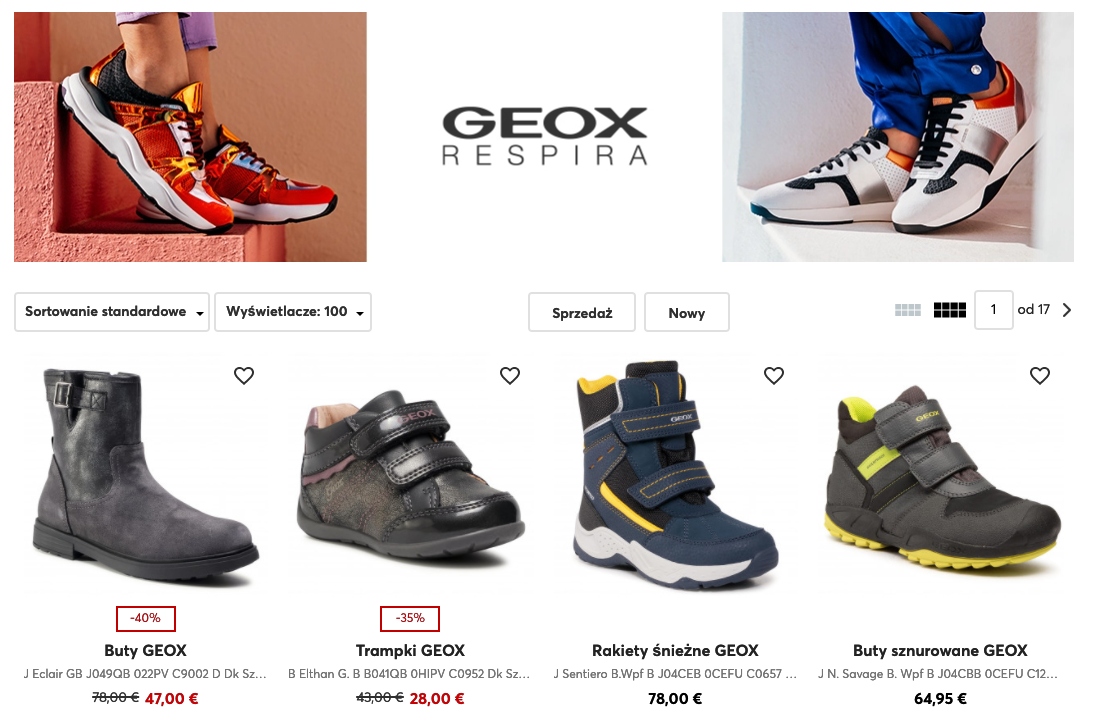 Screen presenting German range of boots for children (Geox)