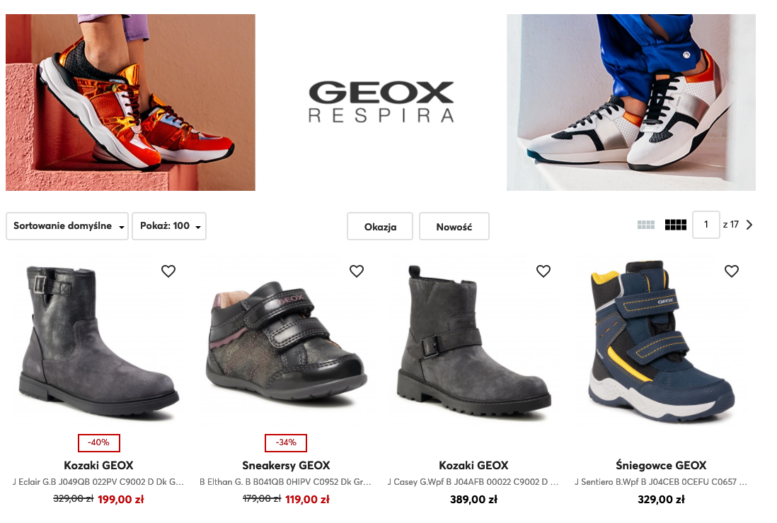 Screen presenting Polish range of boots for children (Geox)