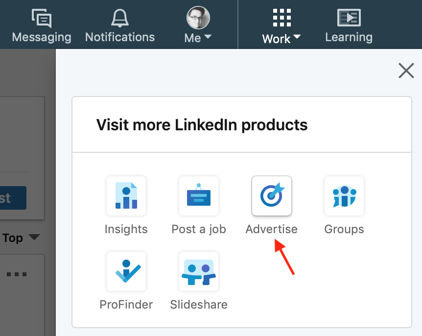 Advertising option on linkedin