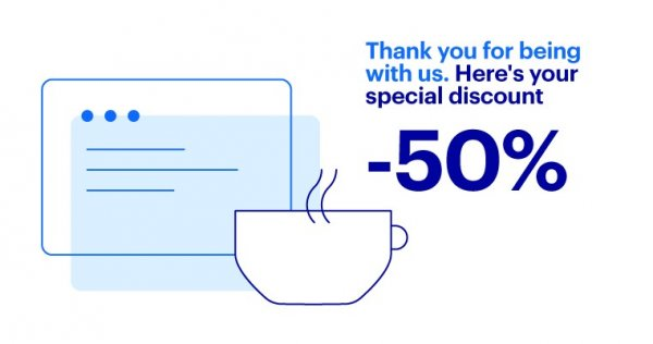 A message with a personalized - 50% discount offer with a blue drawing of text and cup.