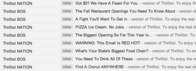 examples of how Thrillist draw the interest of his recipients