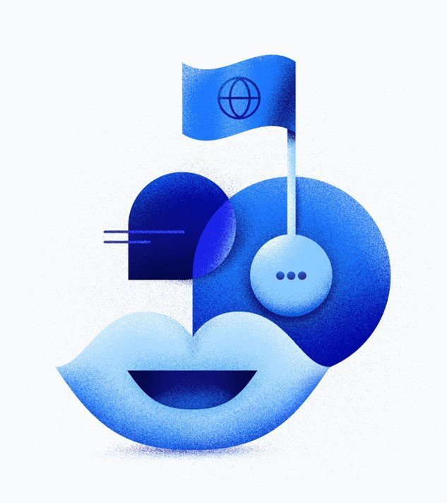 open blue mouth from which growth the chat icon with the flag with globe icon pinned on it