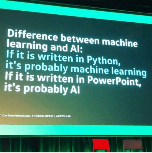 Difference between AI and Machine Learning - slide from the conference